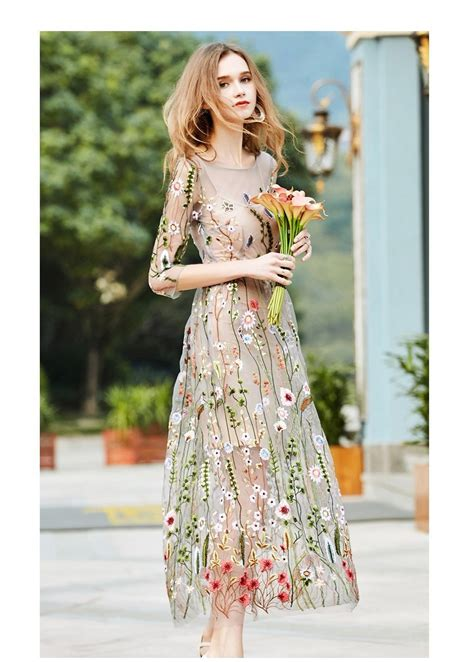 embroidery dresses runway floral bohemian flower embroidered 2 pieces vintage boho mesh