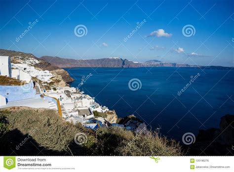 Gourgeous View From White Walled Resort In Santorini