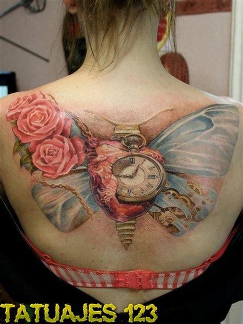 mariposa  rosas  reloj tatuajes