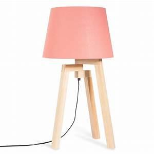 Abat Jour En Bois : lampe tr pied en bois et abat jour corail h 57 cm ~ Dailycaller-alerts.com Idées de Décoration