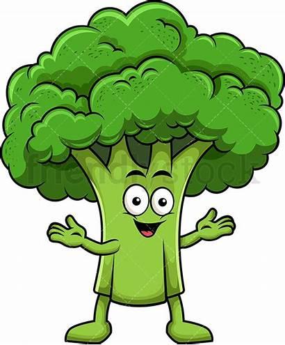 Broccoli Cartoon Happy Clipart Character Mascot Vector