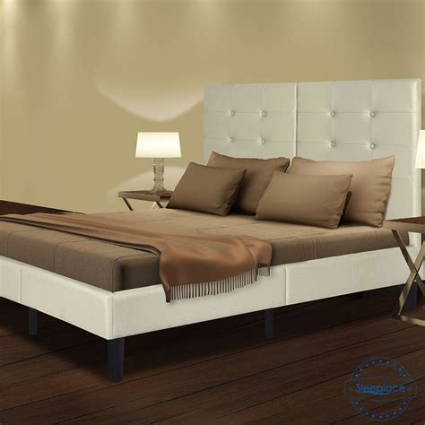 Wood Bed Frame With Headboard by Sleeplace Wood Slat Platform Bed Frame With Light Grey