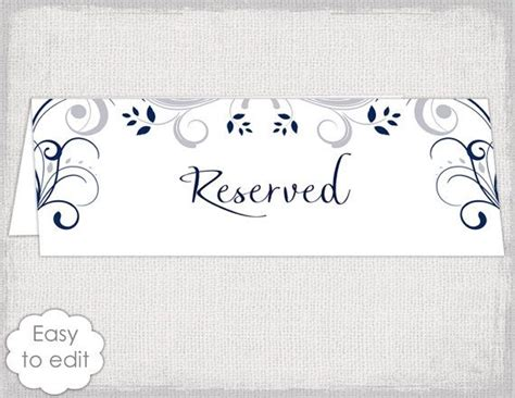 wedding reserved sign card template scroll printable