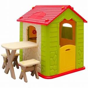 Cabane Enfant Occasion : maison de jeu en plastique maison de jardin pour enfants maisonnette 1 table 2 tabouret ~ Teatrodelosmanantiales.com Idées de Décoration
