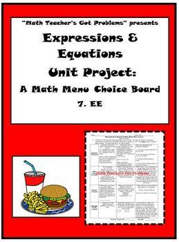 grade math expressions equationsa math menu