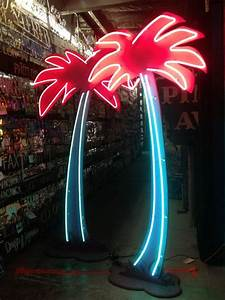 Vintage 1980 U0026 39 S Neon Palm Tree Tiki Decor    By Theneonprincess   2500 00