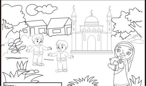 gambar mewarnai islami anak paud