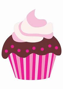 Cute Pink Cartoon Chocolate Cupcake | CLIP ART - CUPCAKES ...