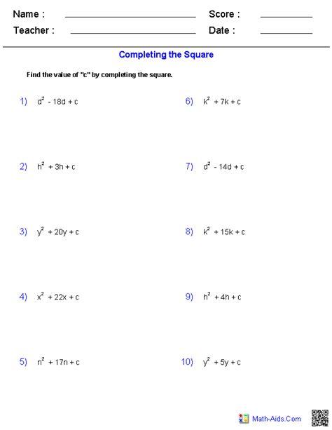 algebra 2 worksheets quadratic functions and