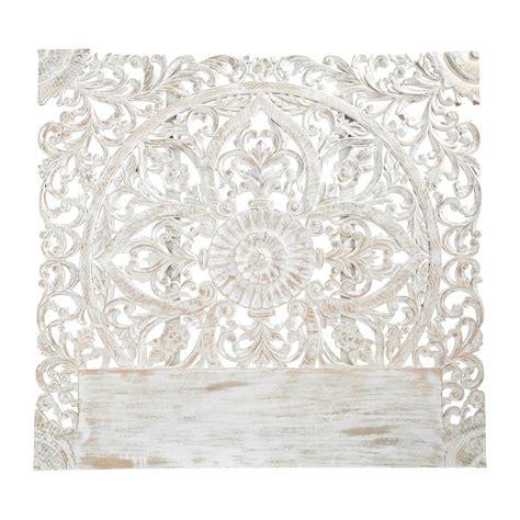 tete de lit sculptee t 234 te de lit sculpt 233 e en manguier massif blanche effet vieilli l 160 cm kerala maisons du monde