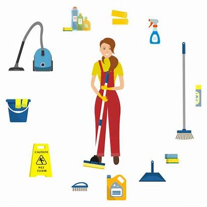 Cleaning Floor Wet Lady Caution Sign Vector
