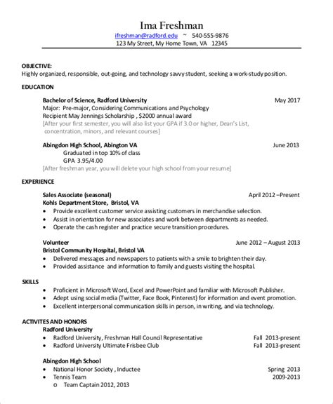 Sle College Resume by 11 Sle College Resume Templates Psd Pdf Doc Free