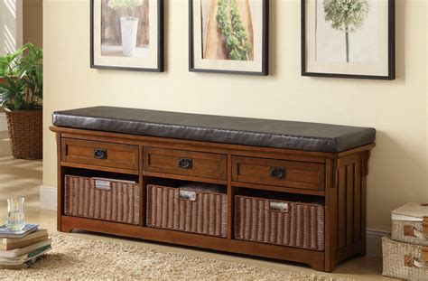 Benches With Drawers by Brown Upholstered Oak Bench With Basket Or Drawers