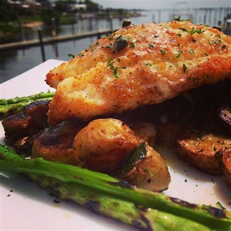 grouper parmesan broiled crusted potato fingerling served hash