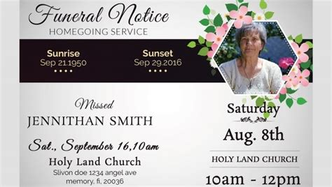 funeral notice template   word excel  psd