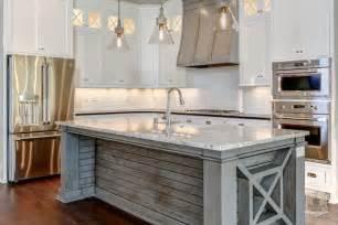 distressed white kitchen island mercury glass light pendants transitional kitchen and company