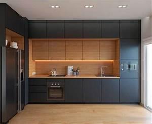 Einbauküchen In L Form : moderne einbauk chen mit schwarze verkleidung warmes holz ~ Bigdaddyawards.com Haus und Dekorationen