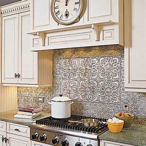 Where to use them backsplash all about tin ceilings for Tin ceiling tiles backsplash