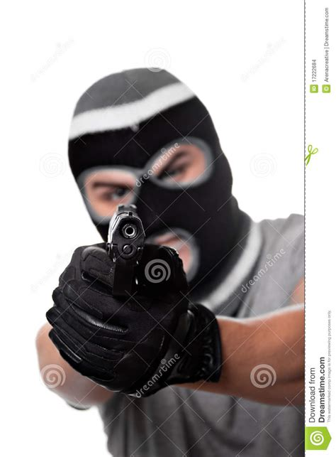 Armed Criminal With a Gun stock photo Image of burglar