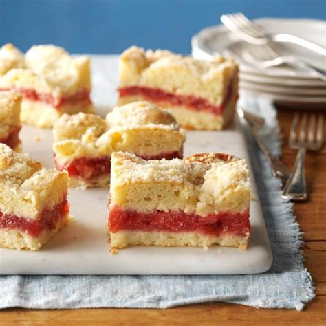 Break streusel topping into large chunks and scatter over rhubarb. Strawberry Rhubarb Coffee Cake Recipe   Taste of Home