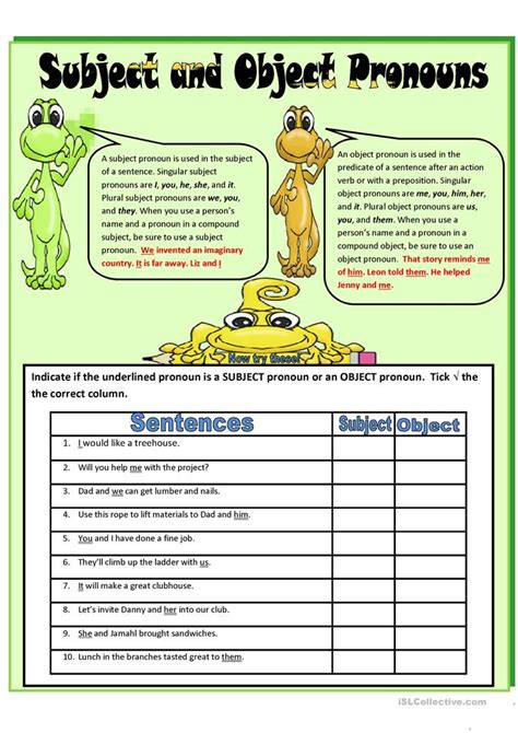 57 Free Esl Object Pronouns Worksheets