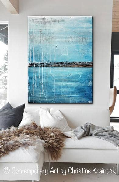 Original Art Blue Abstract Painting Ocean Blue Textured