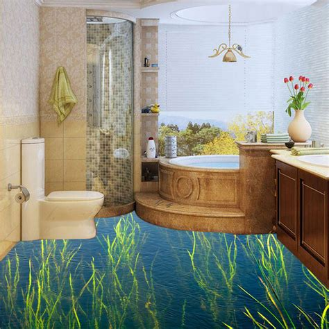 custom waterproof wallpaper  bathroom floor sticker
