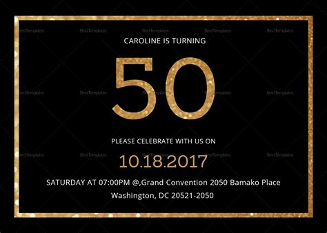 Elegant Black and Gold 50th Birthday Invitation Design