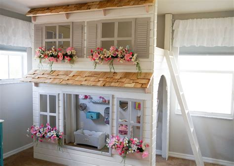 Cottage Loft Bed Custom Dollhouse Cottage Loft Bed Your Colors Play