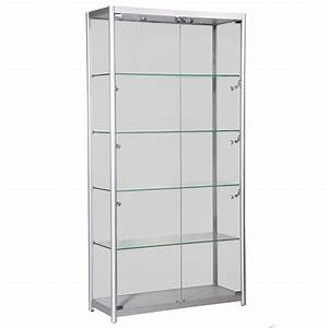 Tall Glass Display Cabinet With Doors And Five Shelves