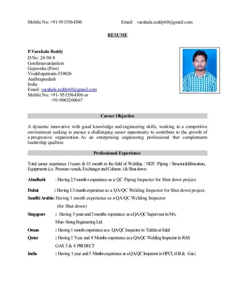 Welding Inspector Resume by Qa Qc Inspector Cswip 3 1 Api 570 Inspector Resume