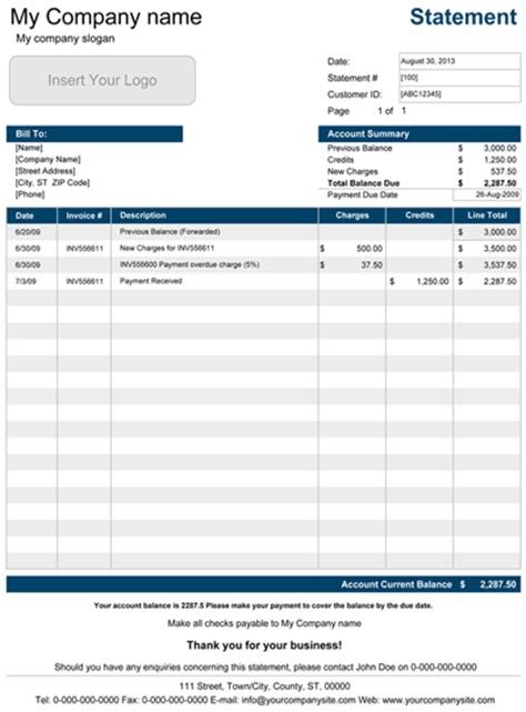 printable account statement template  excel