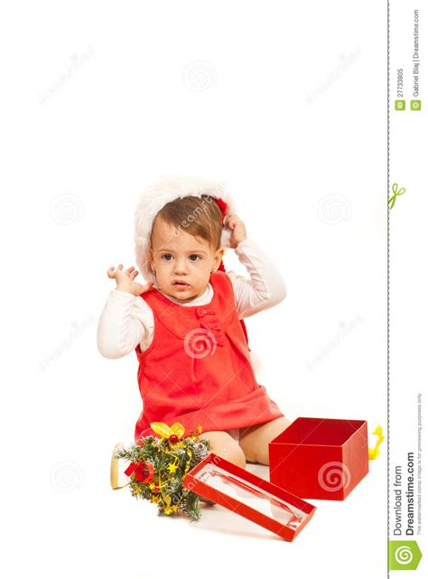toddler girl christmas gifts toddler with gift royalty free stock photo image 27733805