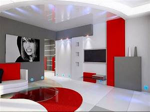 idee deco salon gris blanc rouge deco rouge et salons With deco salon rouge et gris