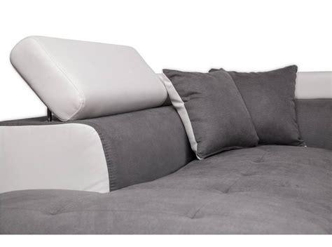 canapé d 39 angle gauche convertible avec coffre blanc gris