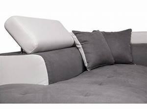 Canape d39angle gauche convertible avec coffre blanc gris for Canapé convertible avec tapis rond gris