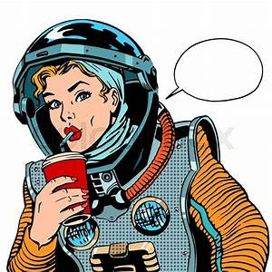 Female astronaut drinking soda pop art retro style | Stock ...