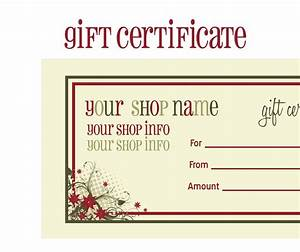 Printable gift certificates new calendar template site for Downloadable gift certificate templates