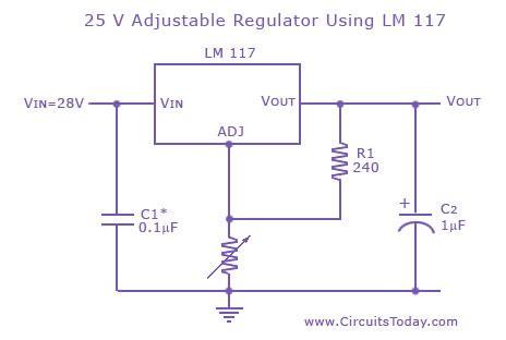 Adjustable Variable Voltage Regulator Circuit Using