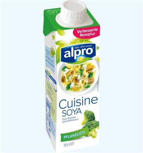 cuisine soja rein pflanzliche sahnealternative soja kochcrème alpro