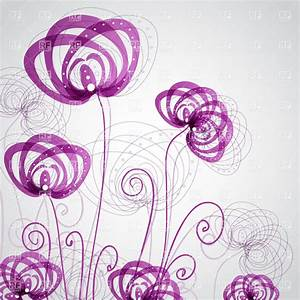 Abstract symbolic purple flowers, 21267, Plants and ...