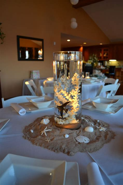 centerpieces for beach themed baby shower with real fish