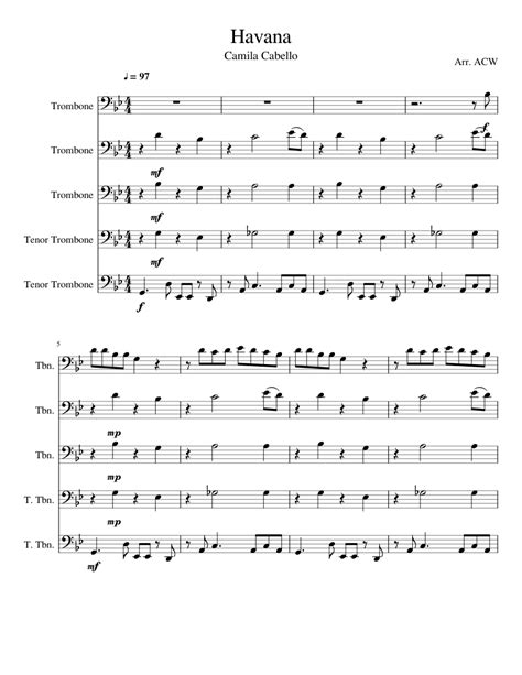 The trombone has several open notes that are all played on the lip with the slide in. Havana sheet music for Trombone download free in PDF or MIDI