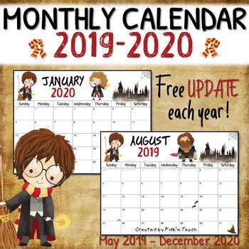 wizard monthly calendar printable planner update year