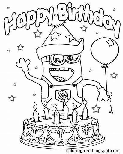 Coloring Minions Birthday Happy Minion Ausmalbilder Cake