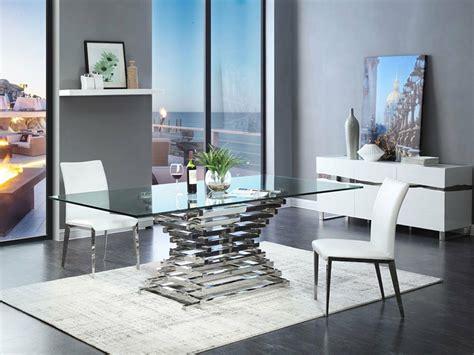 arietta  piece modern dining room set rectangular glass