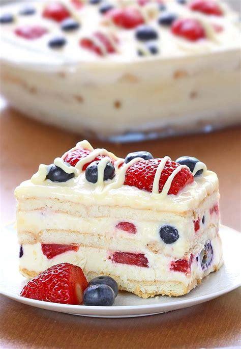 no bake summer berry icebox cake cakescottage