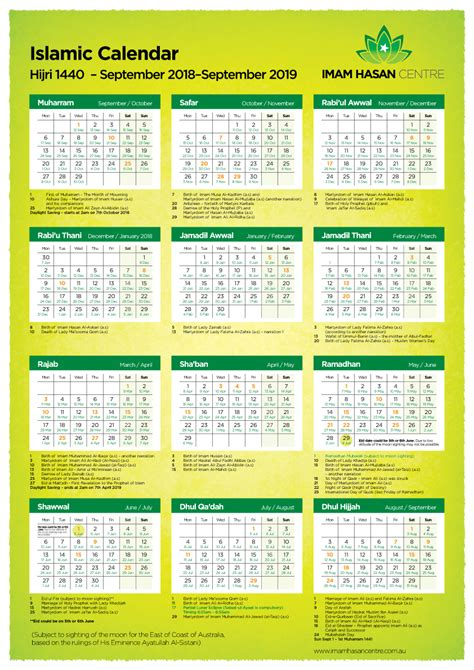 islamic calendar ah imam hasan centre