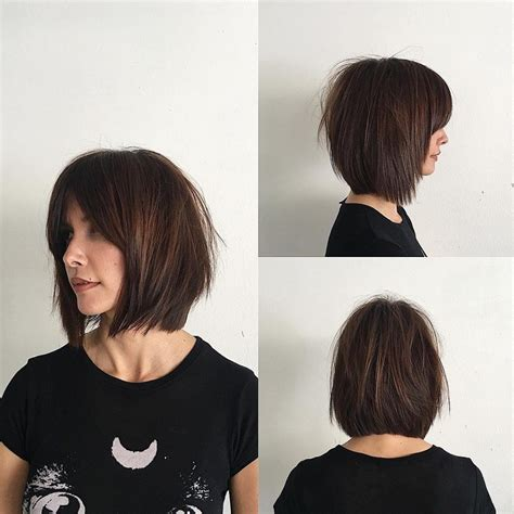 Rich Brunette Soft Layered Bob with Curtain Bangs and
