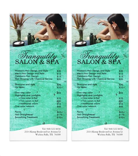 spa menu template 24 spa menu templates free sle exle format free premium templates